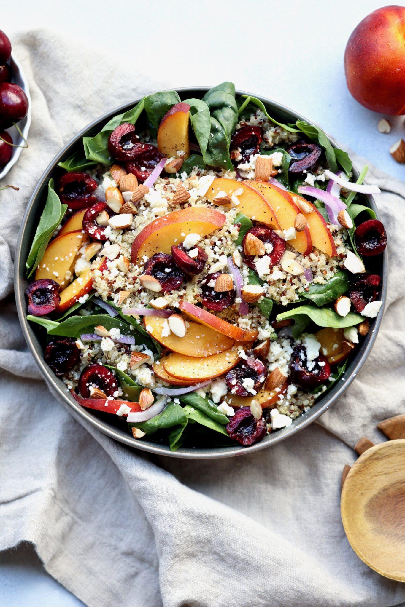 nectarine, cherry & almond spinach quinoa bowl // cait's plate