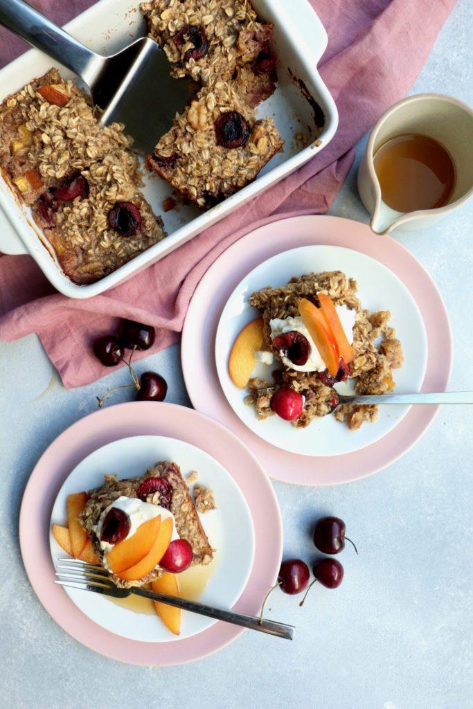 cherry nectarine & walnut cardamom baked oats // cait's plate