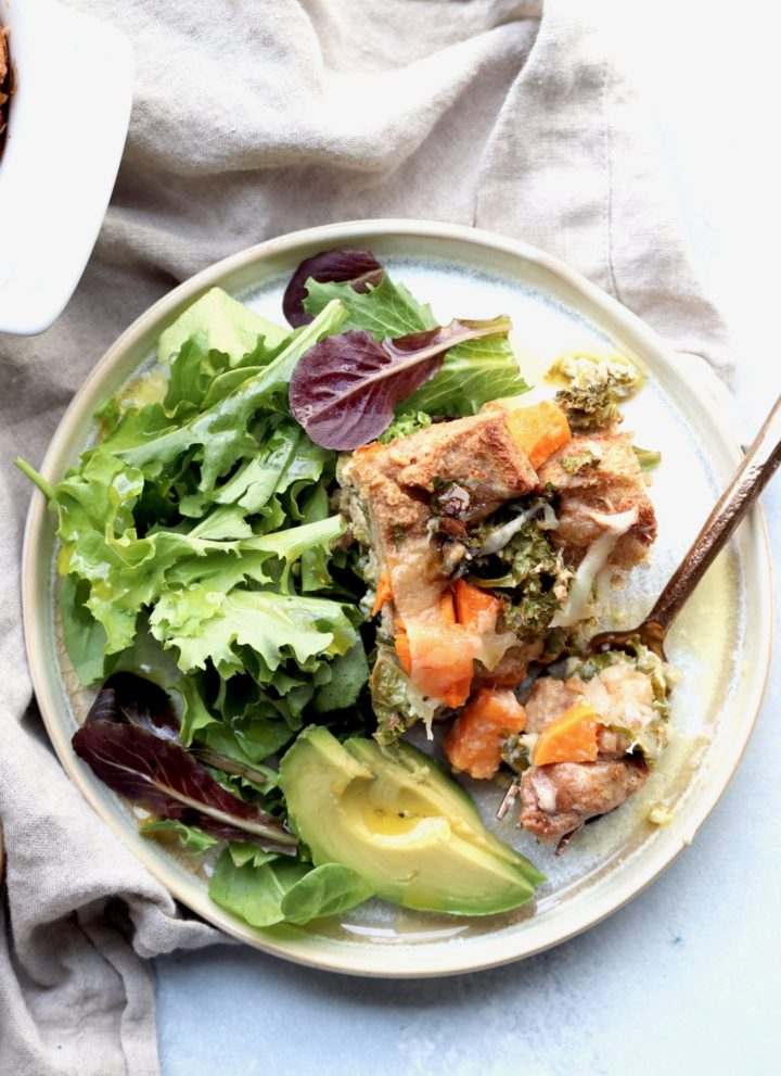 sweet potato, kale & fontina whole grain strata // cait's plate