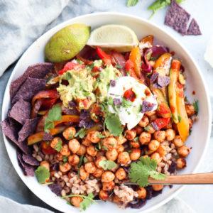 spiced chickpea & veggie farro bowl // cait's plate