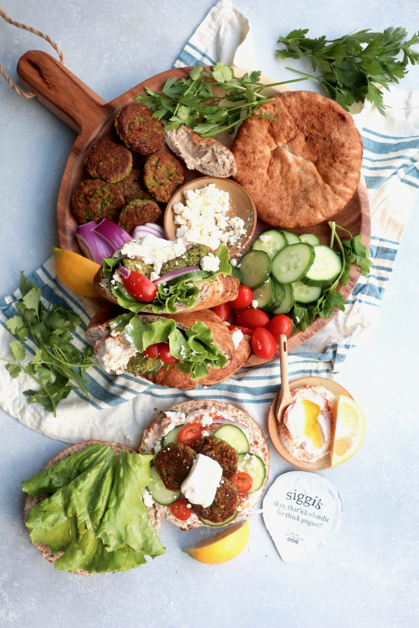 Mediterranean Falafel Pita with Spiced Yogurt Sauce // cait's plate