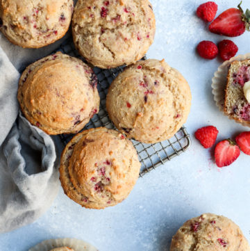mixed berry lemon whole grain bakery style muffins // cait's plate