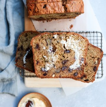 sprouted wheat chocolate chip walnut zucchini bread // cait's plate