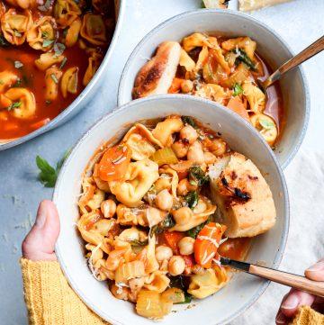 tortellini & chickpea italian soup // cait's plate