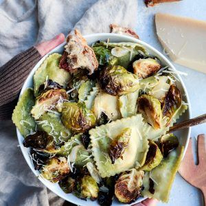 roasted brussel sprout & caramelized onion ravioli // cait's plate