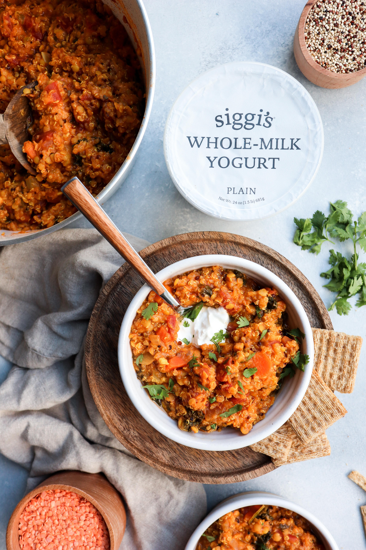 Creamy red lentil, kale & quinoa soup // cait's plate