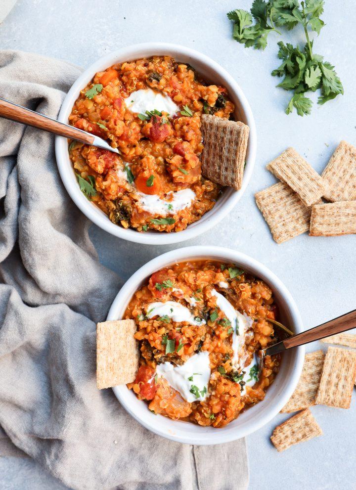 Creamy red lentil, kale & quinoa stew // cait's plate