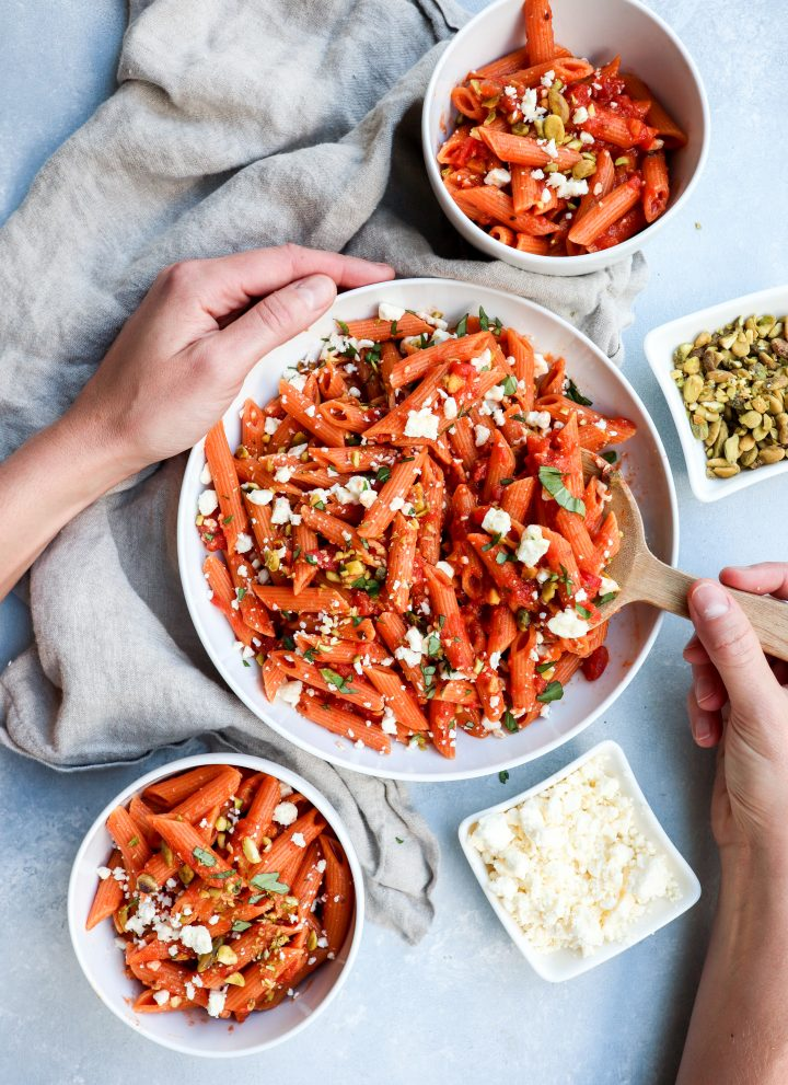 spicy red lentil pasta with feta & pistachios // cait's plate