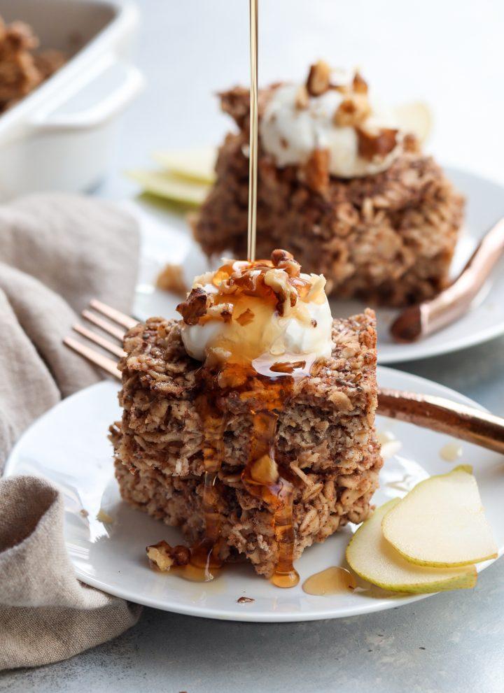 spiced pear baked oatmeal // cait's plate