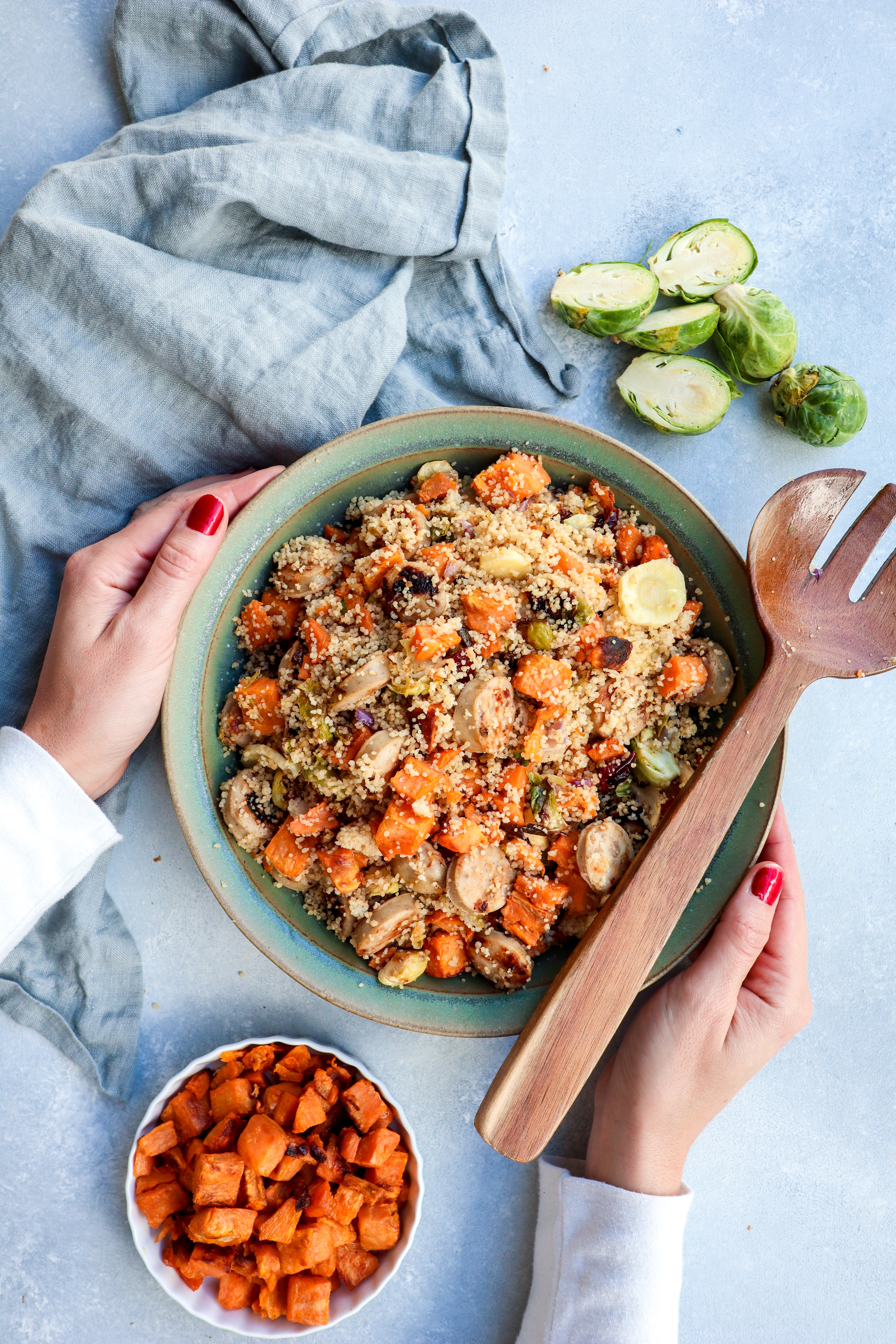 roasted root vegetable couscous with chicken apple sausage