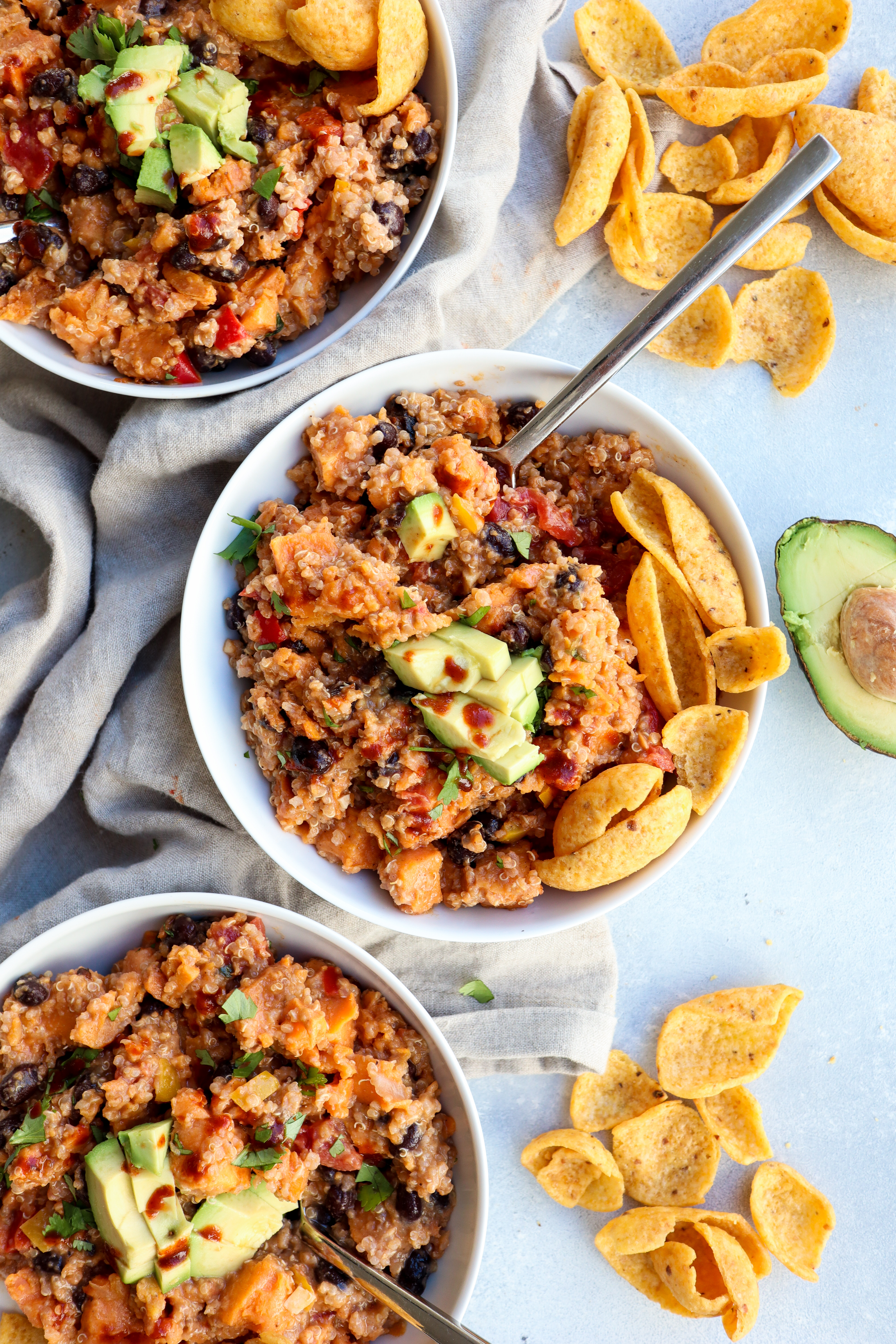 sweet potato & black bean quinoa chili // cait's plate