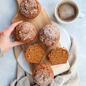 whole grain pumpkin gingerbread muffins // cait's plate