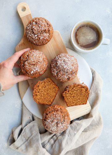 whole grain pumpkin gingerbread muffins // cait's plate