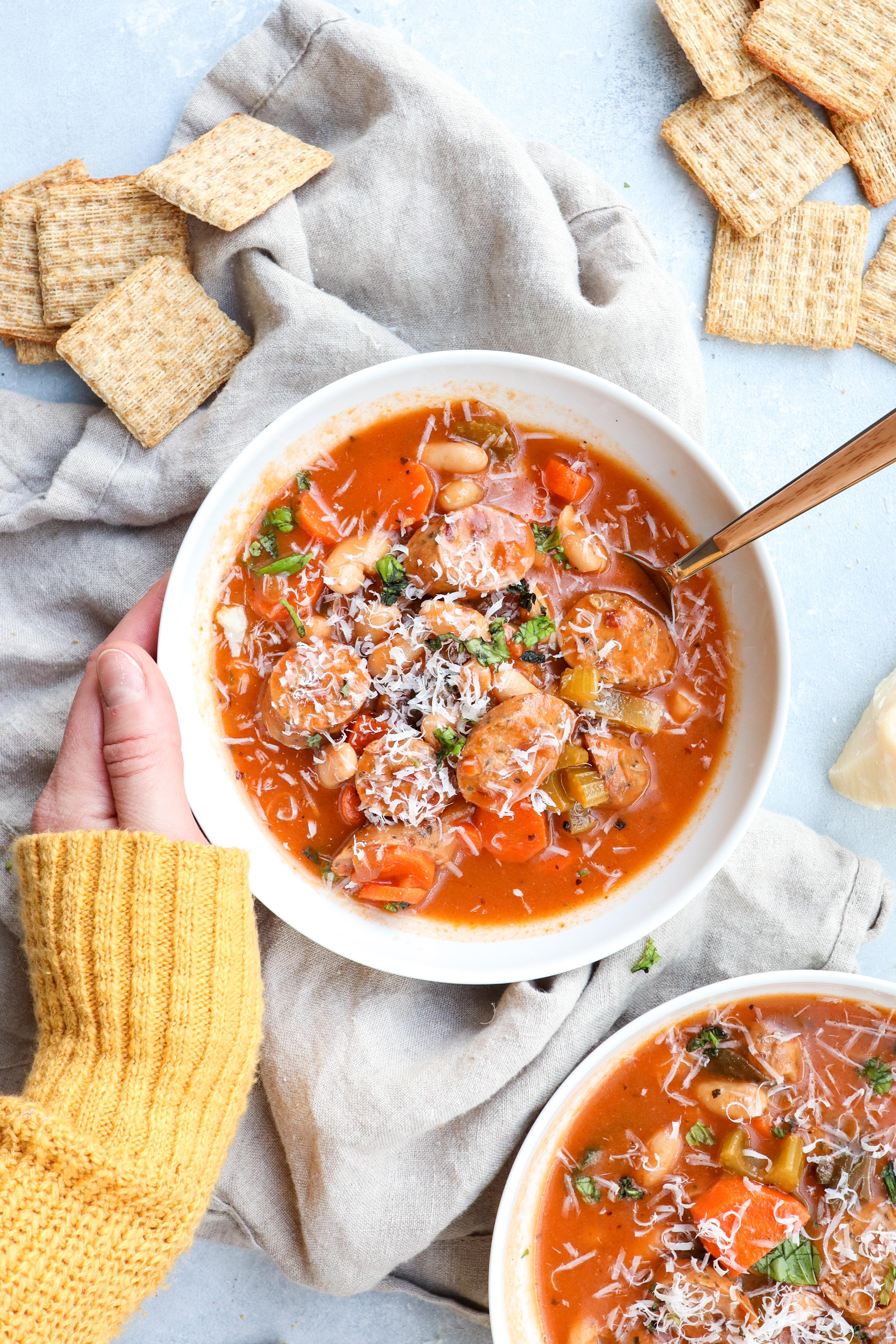 sausage & white bean veggie soup // cait's plate