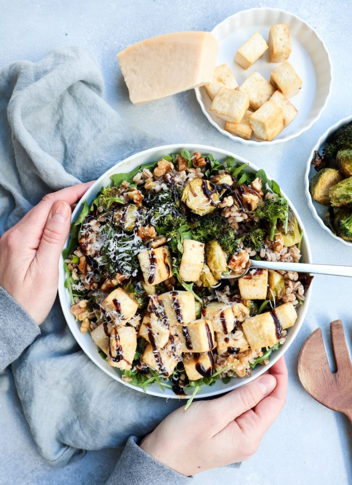 roasted broccoli, brussel sprout & tofu bowl // cait's plate
