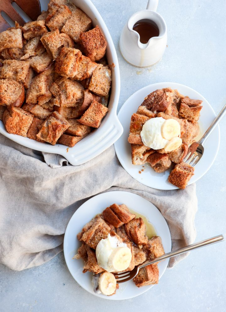 peanut butter cinnamon stuffed french toast bake // cait's plate
