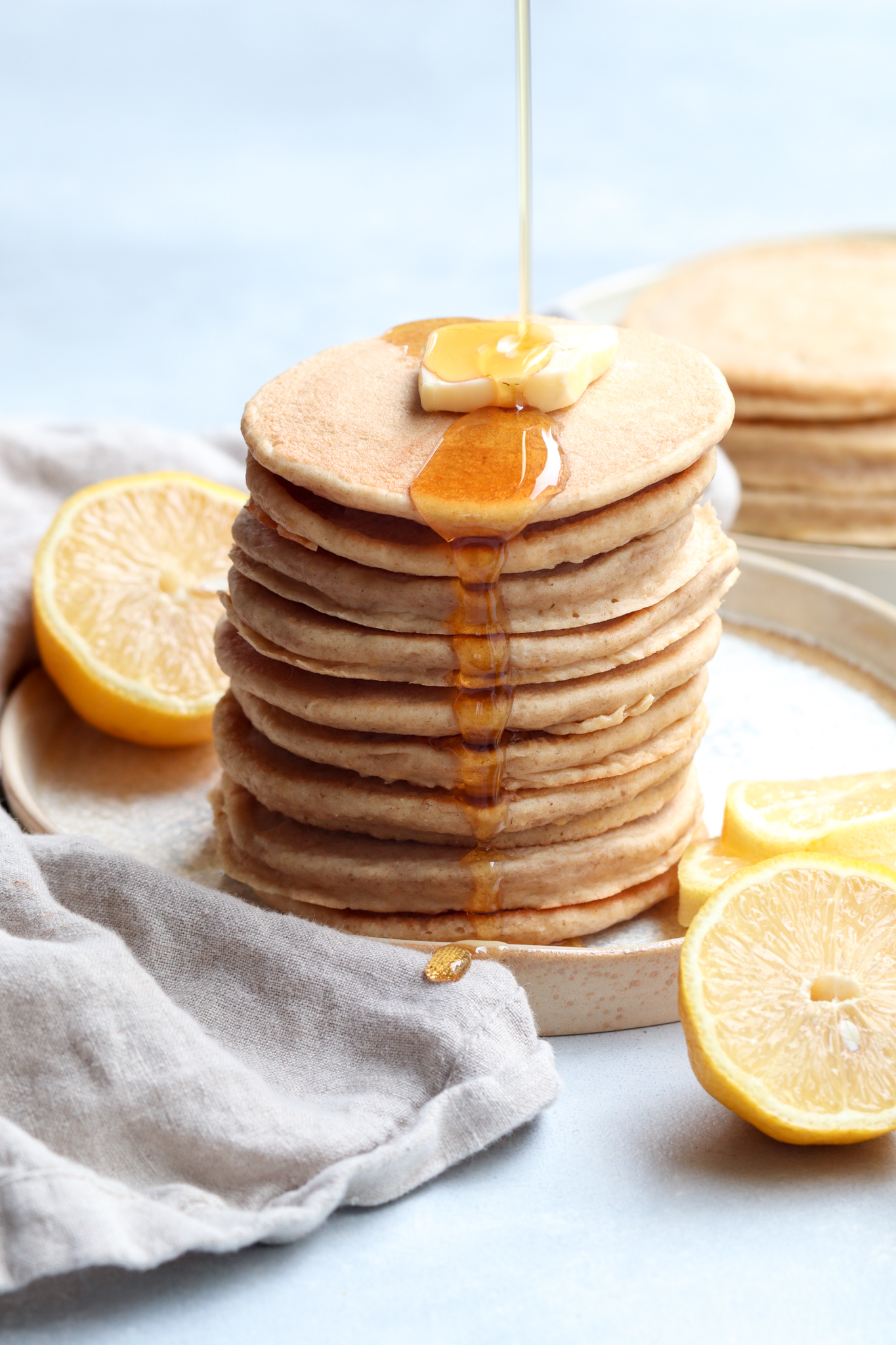 whole grain lemon yogurt pancakes // cait's plate