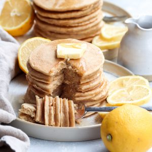 whole grain lemon yogurt pancakes // cait's plate