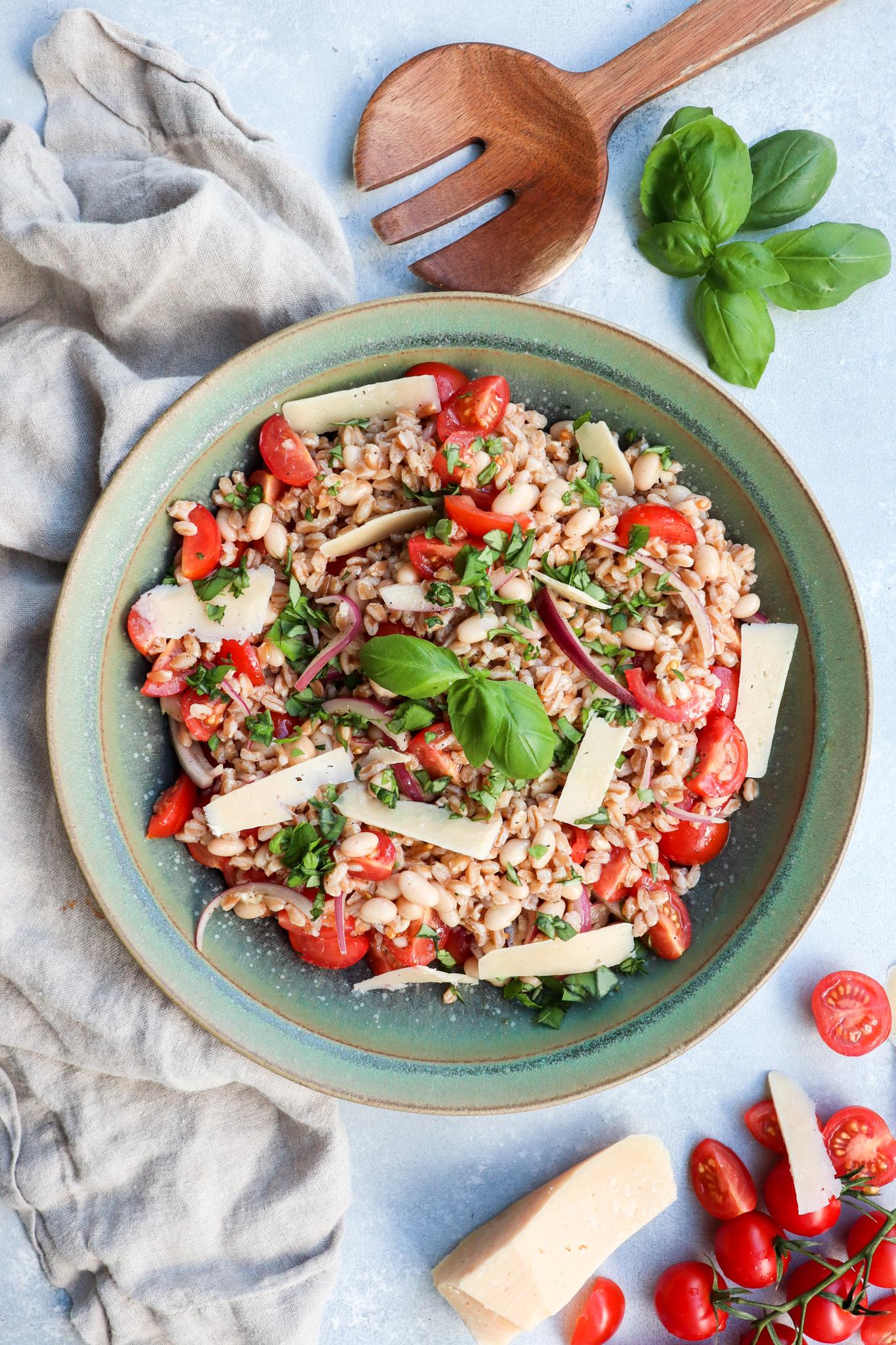 white bean farro salad // cait's plate