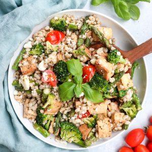 pesto barley tofu & veggie bowl // cait's plate