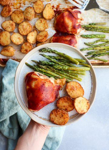 sheet pan bbq chicken meal // cait's plate