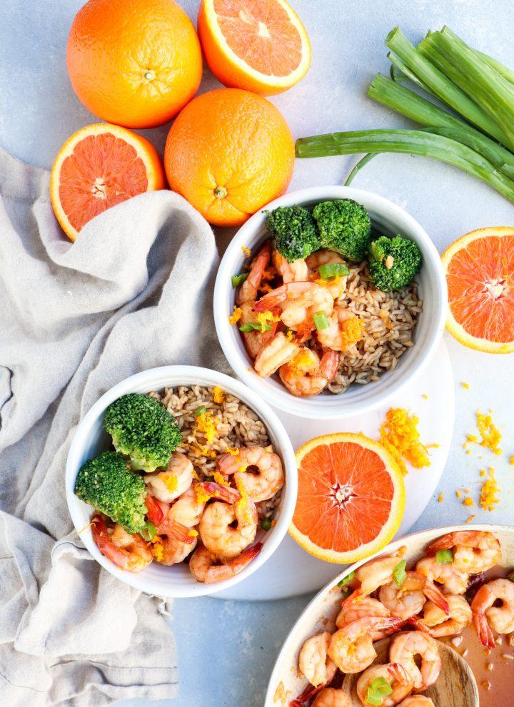 honey orange glazed skillet shrimp // cait's plate