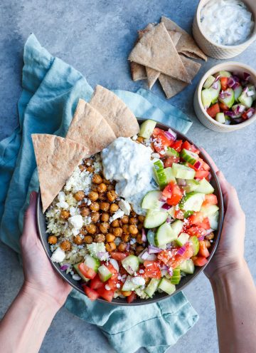roasted greek chickpeas & orzo bowl // cait's plate