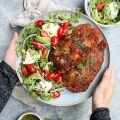 easy chicken milanese with arugula salad // cait's plate