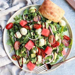 arugula salad with mozzarella, avocado & watermelon
