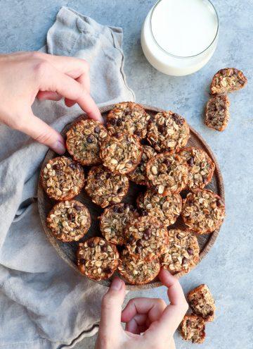chocolate chip zucchini walnut oat bites // cait's plate