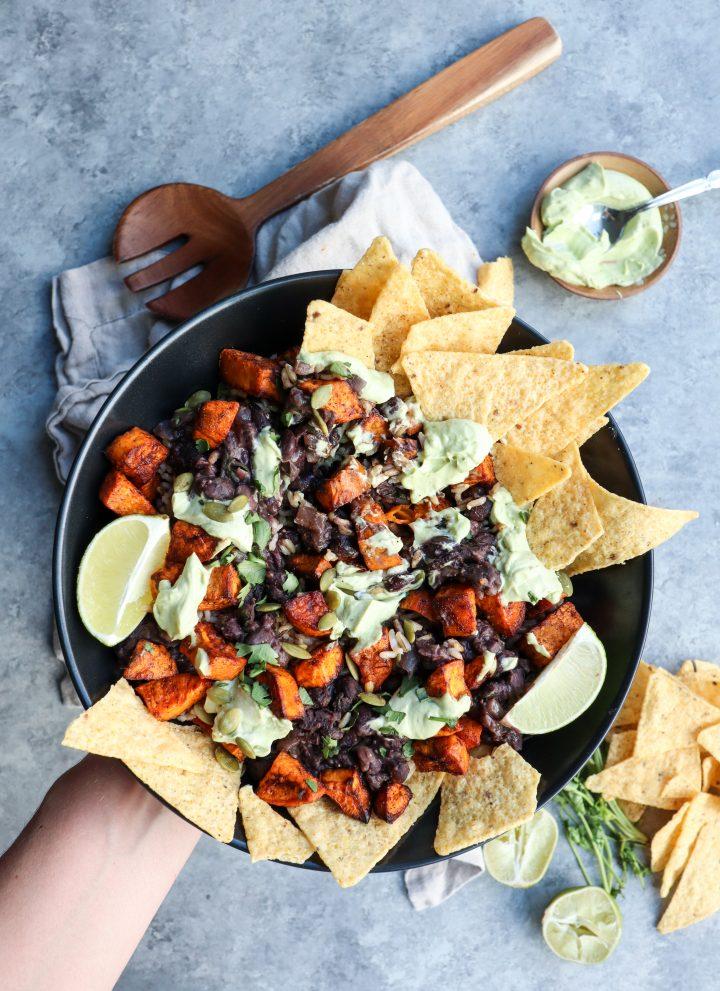 spiced sweet potato & creamy black beans bowl with lime avocado yogurt sauce // cait's plate