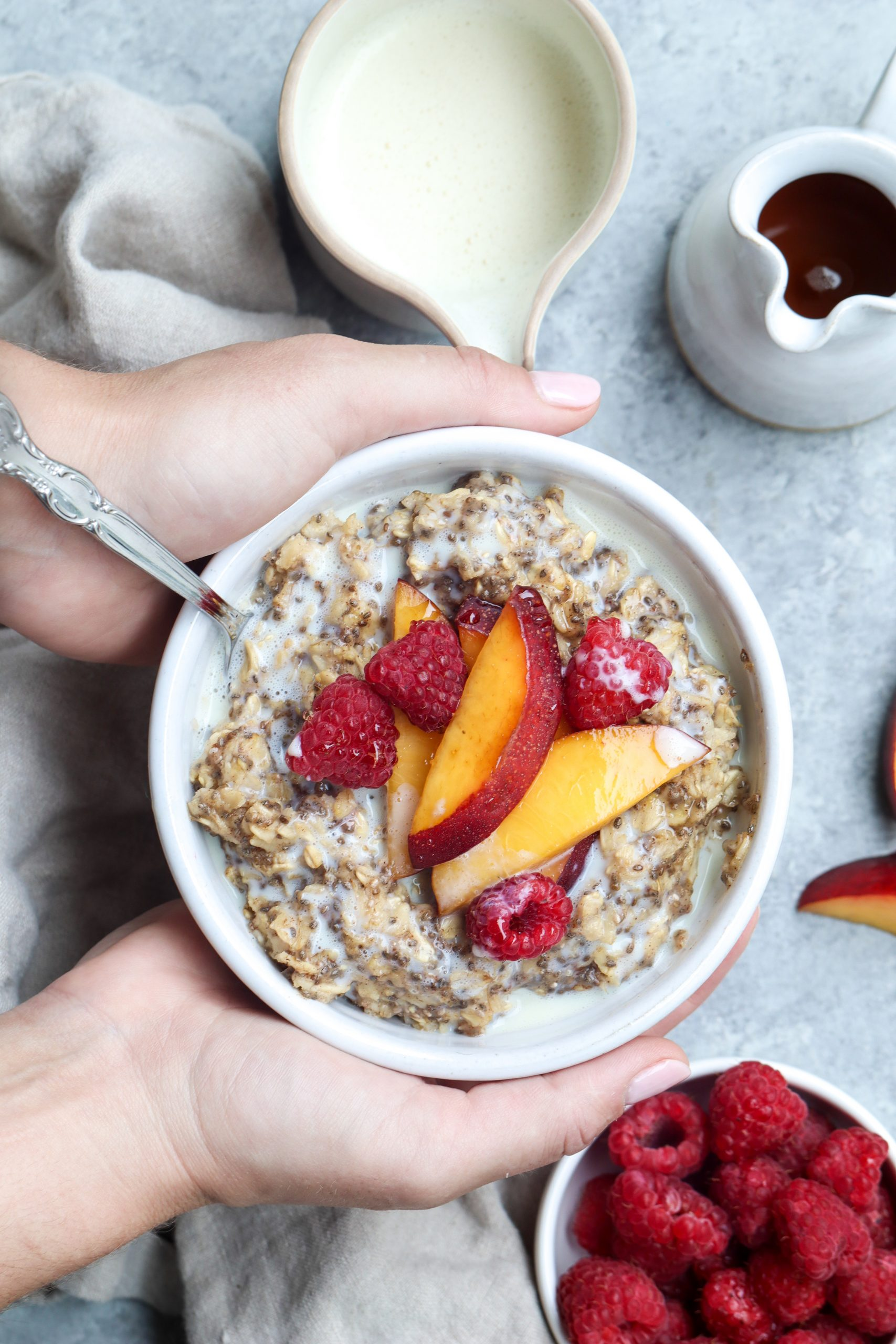 brown sugar cinnamon oats with fresh summer fruit // cait's plate