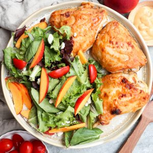 baked honey mustard chicken with nectarine salad // cait's plate