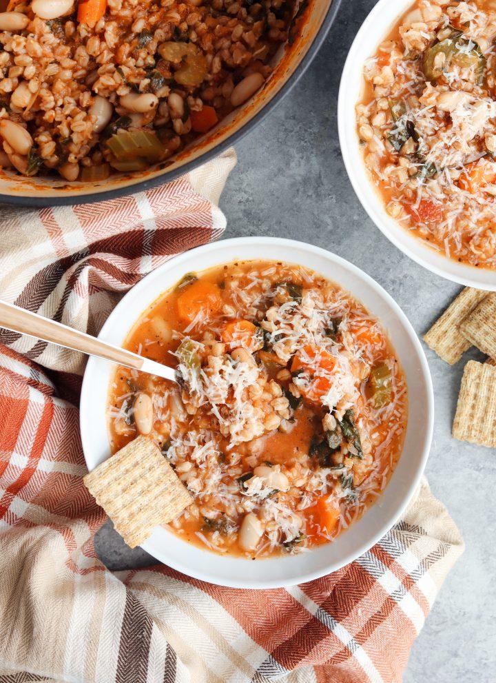 white bean & veggie farro soup // cait's plate